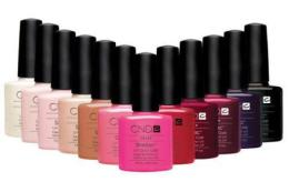A selection of the CND nail polish bottles showing an array of colours